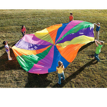 8 Handles 2m Kids Play Rainbow Outdoor Parachute Multicolor Nylon Kids Toy Parachute Suitable For 4-8 people Outdoor Fun Sports