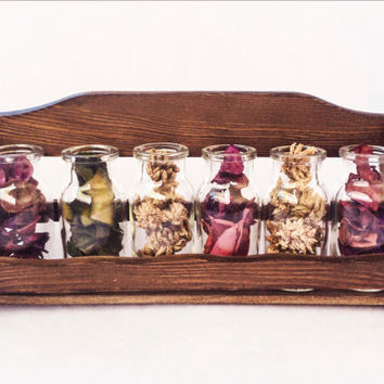 Vintage Wood Spice Rack Glass Bottles Home Decor