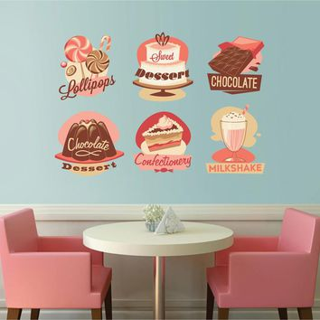 cik1113 Full Color Wall decal Vintage cakes pastry shop window showcase snack restaurant