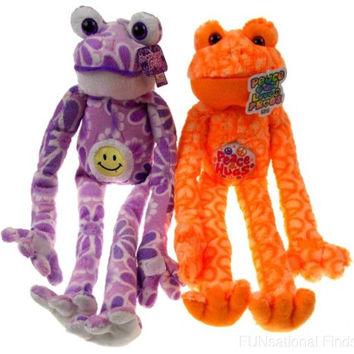 Lot 2 Peace Love Flower Frogs Hugs Smiley Face Hanging Plush Embroidered