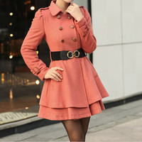 Women Watermelon red  Princess OL Wool coat Cashmere winter coat Hood cloak Hoodie cape Hooded Cape/clothing /jacket/dress