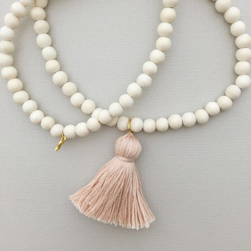 tassel necklace, white wood necklace, wood beaded tassel necklace, long beaded tassel necklace, long tassel necklace, long beaded necklace