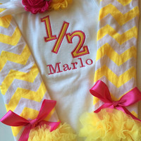 Baby Girl Outfit- Half Birthday - 6 month outfit - baby girl photo prop - 6 months old baby - half birthday shirt - personalized baby