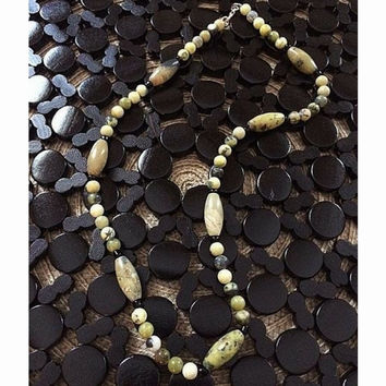 Men's Yellow Turquoise Beaded Necklace