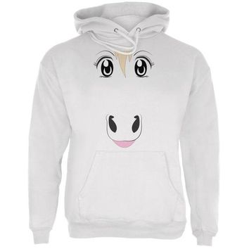 LMFCY8 Anime Horse Face Uma White Adult Hoodie