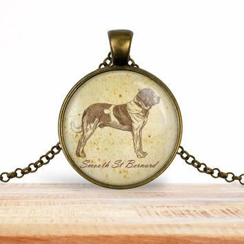 Saint Bernard pendant necklace, choice of silver or bronze, key ring option