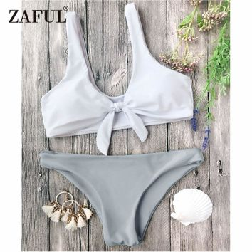 ZAFUL Bikini Swimwear Knotted Bralette Bikini Top and Bottoms Women Swimsuit Sexy Low Waisted Solid Pullover Knot Bathing Suit