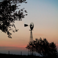 Antique Windmill Sunset Silhouette, Digital Art Print, Home Decor, Ready to Frame Photo, Wall Hanging, Nature Photograph, Prairie, Nebraska