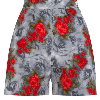 The Printed Shorts - Grey with Red Roses