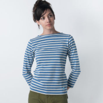 MILL MERCANTILE - Orcival - Striped Long Sleeve Tee in Q.Blue and Ecru