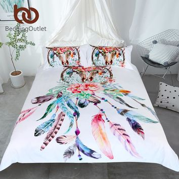 BeddingOutlet Floral Dreamcatcher Bedding Set King Hipster Feathers Skull Duvet Cover Bohemian Gothic Bedclothes Multi Colors
