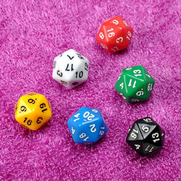 6 Set D20 Dice Twenty Sided Die RPG D&D Six Opaque Colors Multi Resin Polyhedral For Sides Dice Pop for Game Gaming Brand New