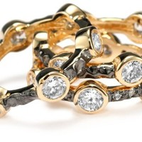 "Freida Rothman ""CLASSICS"" Two Tone Starry Night Set of 3 Stack Ring"