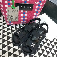 """Chanel"" Summer Women All-match Casual Fashion Diamond Rhinestone Letter Sandals Velcro Flats Shoes"