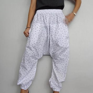 White Tribal Print, Cotton Harem Drop Crotch Pant,Unisex Baggy Trouser, (pants-H0).