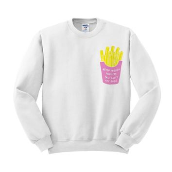 Salty Attitude Fries Pocket Design Crewneck Sweatshirt