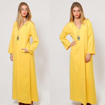 Vintage 70s Indian Cotton Maxi Dress INDIA IMPORTS of Rhode Island Yellow Cover Up Bell Sleeve Boho Tunic Dress with Hood Cotton Caftan