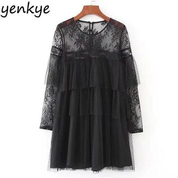 Vintage Women Ruffle Trims Voile Dress Lace Shoulder Long Sleeve Black Mini Sexy Mesh Dresses XZWM17130