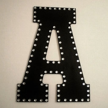 BLING WALL LETTERS - Large Decorative Wall Letters, Initials or Words w/ Clear Rhinestones - 13 inch