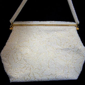 White Glass Seed Beaded Bridal Purse, Butterfly Design, Mid Century Evening Bag, Bugle Beads, Gold Tone  817