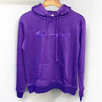 Champion Fashion Casual Straps Embroider Hooded Hoodies Sweatshirt Top A