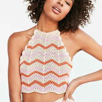 Ecote Crochet Chevron Set Halter Top