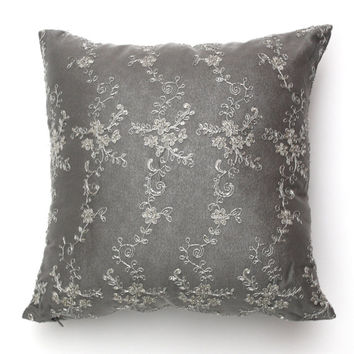 SILKY GREY THROW Pillow . Grey Accent Pillow . Gorgeous Metallic Embroidered Floral Lace . Sofa Pillow . Silvery Decorative Pillow