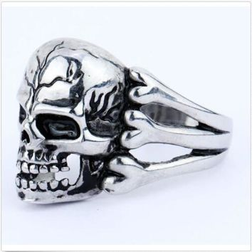 Man's Ring Gothic Men's Skull Flower Biker Zinc alloy Ring Men fashion rings