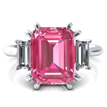 Venice Emerald Pink Sapphire with Diamond Baguette 3 Stone Ring