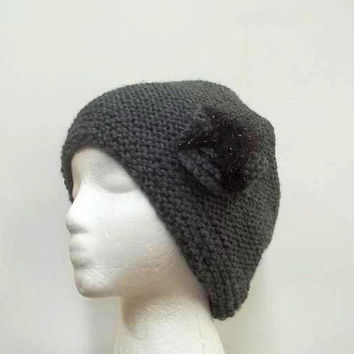 Gray ribbed slouchy beanie with sparkle bow  5298