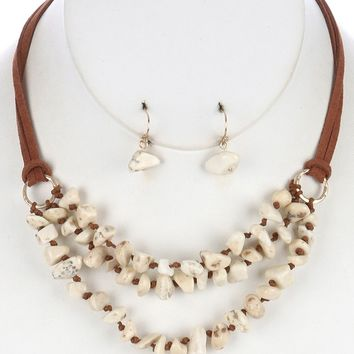 Natural Stone Chips Three Layer Bib Double Str Faux Suede Knotted Cord Necklace Earring Set