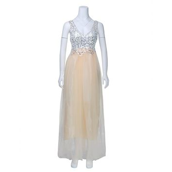 New Women Lace Dress Ladies Muslim Gold Sequins Sleeveless Dress Tulle Lace Princess Long Dress Gown Prom Bride Dress