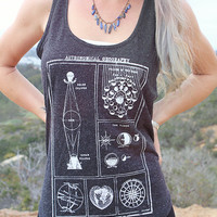 Star Chart Astronomy Constellation Tank Top // Astronomy Moon Phases Moon Child Shirt // Boho Clothing Women's Tank Top // Bohemian Clothing