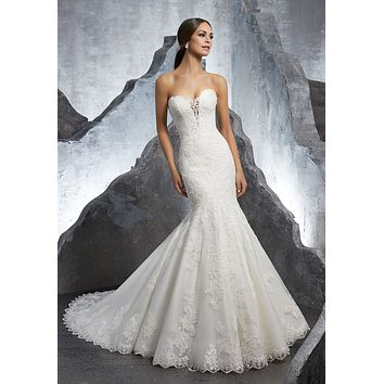 Blu by Morilee 5607 Kaitlyn Romantic Lace Strapless Mermaid Wedding Dress