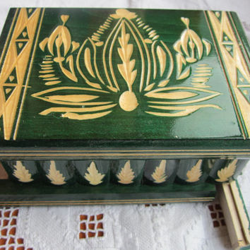 Hungarian Green Puzzle Jewelry Box, Handmade by My Grandfther Limited Edition