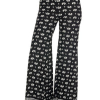 Black & White-3 Multicolored High Waisted Wide Leg Palazzo Pants