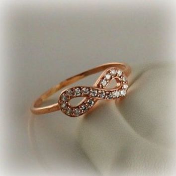 Infinity Ring, Rose Gold Vermeil Sterling Silver, Dainty Ring, Classic Everyday, Elegant, Classic, Cubic Zirconia Ring, Bridal, Wedding