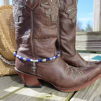 Beaded Western Cowgirl Cowboy Boot Bracelet Boot Bling Southwest Charming Denim Blues Silver Boot Jewelry Anklet or Choker Necklace
