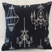 "Silver Chandelier Pillow, 16 x 16"" on Black Linen, Metallic Brocade Embroidery, Ready to ship (B)"