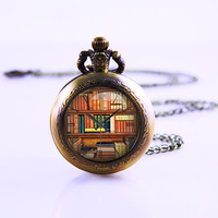 Library Pocket Watch Necklace ,So many Books Little Time , Pocket Watch Vintage Necklace