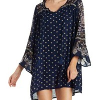 Navy Combo Boho Print Shift Dress by Charlotte Russe
