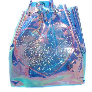 Glitter Heart Opal Holographic Drawstring Backpack