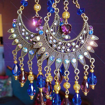 Cleopatra Cobalt and Amethyst Crystal Heart Chandelier by kerala