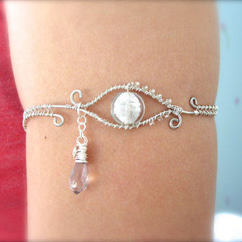 Crying Eye Armlet, Upper Arm Bracelet, Adjustable, Glass Eye with Briolette Teardrop, White and Silver