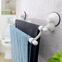 Suction Cup Wall Mounted Towel Rack Double Towel Rail Holder Storage Racks Shelf Bathroom Accessories Home Decor