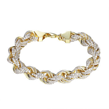 "Sterling Silver Rope Link Bracelet 11mm Chain 9"" Iced Out Hip Hop Simulated Diamonds Gold Tone"