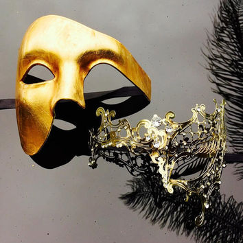 Holiday Gold Couple Mask Set - Bestselling Half Phantom Masquerade Mask - Limited Edition by 4everstore
