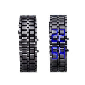 Man Fashion Lava Style Iron Samurai Metal Blue LED Faceless Watch [9210699523]
