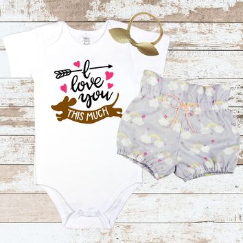 I Love You This Much Wiener Dog Outfit | I Love You This Much bodysuit with Purple Rainbow High-Waisted Bloomers | Baby Girls Vintage Outfit