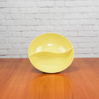 Vintage Yellow Melamine Divided Bowl Windsor Melmac Made In USA Mid Century